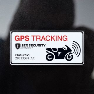 2X motorbike Scooter Alarm GPS Warning Sticker Decal Road Bike Motorcycle White