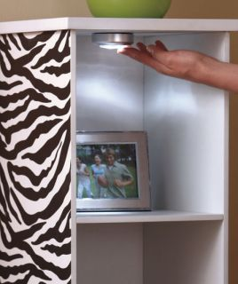 Zebra Stripes Print Lighted Wood Storage Tower Shelf Bedroom Decor Pictures Toys