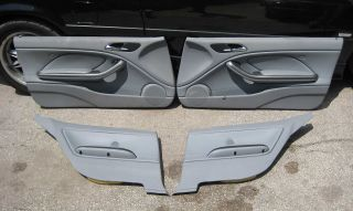 BMW E46 M3 Coupe Interior Door Panel Card Set Grey Leather 2001 2006 Used