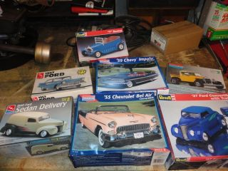 AMT Ertl Revell Monogram Kit Lot '37 Ford '59 '55 Chevy Street Hot Rod Basher