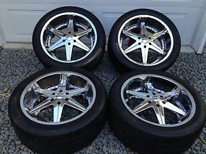 "22"" Dub Big Homie 6 Lug Wheels w Pirelli Tires 6x135mm Ford F150 Mark Lt"