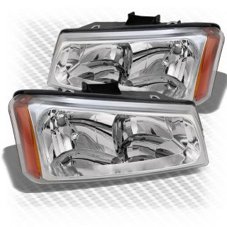 03 06 Chevy Silverado Chrome Crystal Headlights Front Lamps Replacement