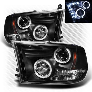 2009 2013 Dodge RAM Dual Halo LED Projector Headlights Black Head Lights Pair