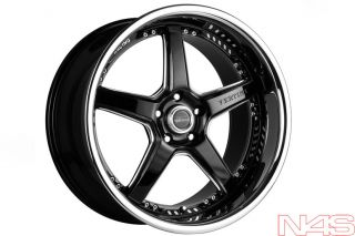 "Brand New 20"" Nissan 350Z Vertini Drift Black Staggered Wheels Rims"