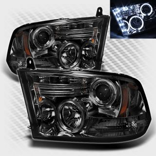 Smoked 09 13 Dodge RAM Twin Halo LED Projector Headlights Head Lights Pair Lamp