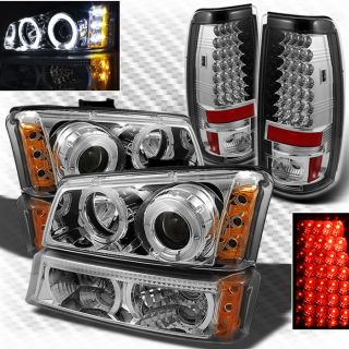 03 06 Chevy Silverado Twin Halo LED Projector Headlights Bumper LED Tail Lights