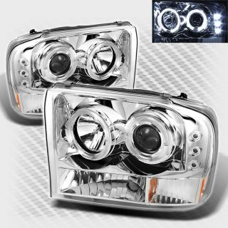 99 04 Ford F250 F350 Super Duty Halo LED Projector Headlights Head Lights Lamp