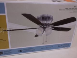Hampton Bay Hollandale 52 in Brushed Nickel Ceiling Fan 301469 14414
