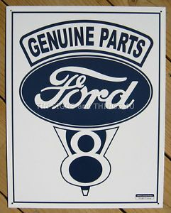 Genuine Ford Parts V8 Tin Sign Vtg Garage Ad Service Hot Rod Rat Metal Car 787