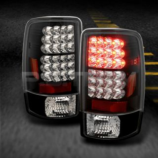 00 06 Chevy Suburban Tahoe Yukon Black LED Tail Lights Brake Lamps Pair