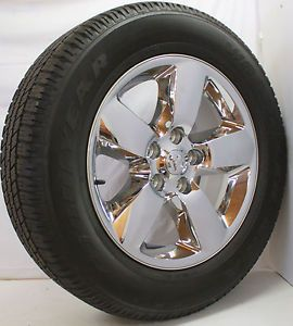 "New Set 4 2013 Dodge RAM 1500 Chrome Clad 20"" Wheels Goodyear Wrangler Tires"
