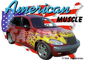 2000 Red Flames Chrysler PT Cruiser Hot Rod USA T Shirt 00 Muscle Car Tee'S