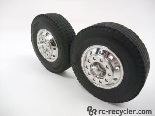 2 Tamiya King Hauler Semi Front Wheels Tires TAM19805456 Scale Truck