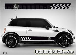 Mini Cooper Side Racing Stripes 011 Vinyl Stickers Decals Graphics