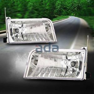 Ford 92 96 Bronco F150 F250 F350 Crystal Chrome Clear Headlights Lamp LED DRL
