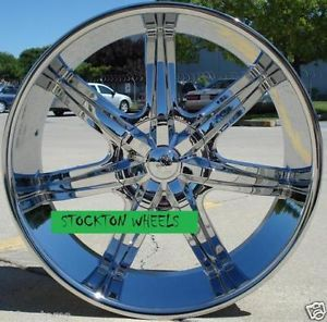 22 inch Tires Wheels U2W35 Chrome Silverado 2007 2008 2009 2010 2011 2012