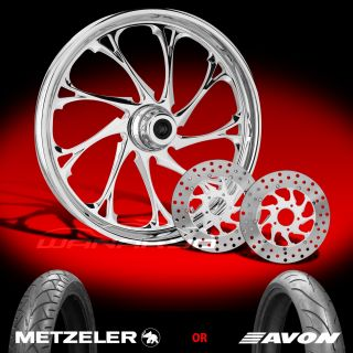 "Temper Chrome 21"" Front Wheel Tire Dual Rotors for 2000 13 Harley Touring"