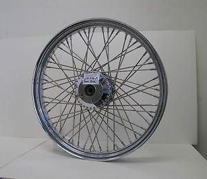 "USA Chrome 60 Spoke Narrow Glide Dual Disc 21"" x 2 15"" Front Wheel Harley Custom"