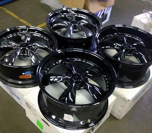 "Black Chrome Bullitt Wheels Mustang 20x8 5 20x10 2005 20"" Deep Dish Rims"