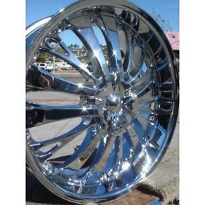 "22"" Wheels Rims Tires Pkg TF705 Chrome 5x135 F150 Expedition RAM 300C More 24"