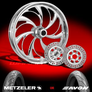 "Helix Chrome 21"" Front Wheel Tire Dual Rotors for 2000 13 Harley Touring"