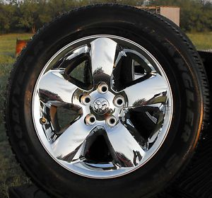 "New Set 4 2013 Dodge RAM 1500 Chrome Clad 20"" Wheels Rims Goodyear SRA Tires"