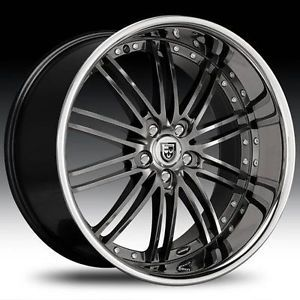 "20"" Lexani LSS 8 Staggered Wheel Set 20x10 20x8 5 Gun Metal Center Chrome Lip"