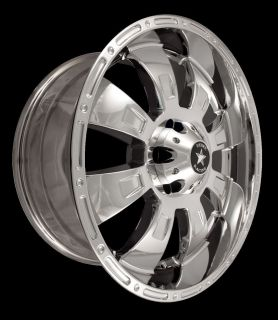 "Rebel Racing 20"" PVD Chrome Wheels Set 20x9 6x5 5 Fits Chevy GMC Cadillac"