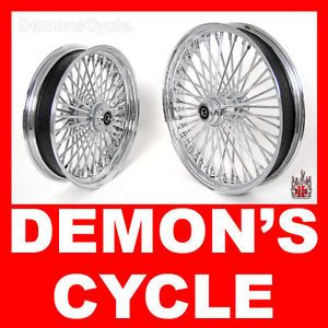 "Chrome Fat Mammoth Custom Wheels 21 x3 5"" 18x3 5"" 48 Spokes for Custom Harley"
