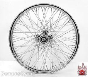 "21""X2 15"" Tubeless Chrome Custom Front Wheel 80 Spokes Billet Hub Rim Fit Harley"