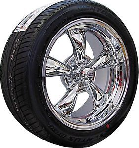 17x7 8 Chrome Rev Classic 100 Wheels Rims Nexen Tires Chevy Nova 1971 1972 1973
