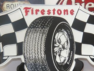 Large Firestone Tire Checkered Flag Embossed Metal Sign Garage Shop Man Cave