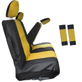 8PC Yellow Low Back Rear Bench Truck Seat Cover Plus Head Rests