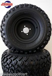 "Golf Cart 10"" Black Steel Wheels and 22"" All Terrain Tires Set of 4"