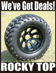 New 12x7 Black Claw Golf Cart Wheel and All Terrain Tires