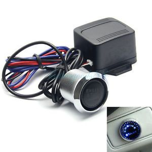 Car 12V Engine Start Blue LED Push Button Switch Ignition Starter Kit MA077
