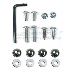 Car License Plate and License Frame Lock Security Kits Screws Chrome Covers