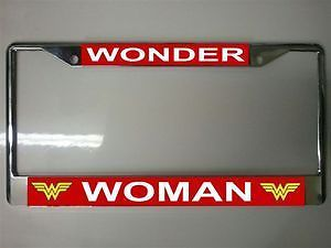 Wonder Woman Metal Auto Tag Car License Plate Frame