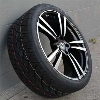 "22"" Porsche Cayenne Wheels and Tires Black Machine Face Nitto NT420 Tires"