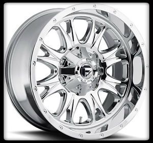 "20"" Fuel Throttle Chrome Rims 35x12 50x20 Nitto Trail Grappler Tires Wheels"
