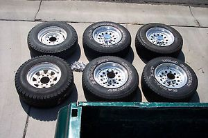 Used American Racing 8 Lug Wheels and Tires 31x10 5x16 5 Set of 6 Wheels Tires