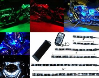 6pc RGB LED Motorcycle Lighting Blue Red Green White Neon Glow Lights Strips Kit