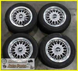 "88 89 90 91 BMW 318i 325i 14"" Silver BBs Wheels Tires Used Set 59164"