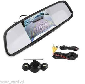 "4 3"" HD Car Rear View Monitor Mirror New LED Night Vision Reverse Camera"
