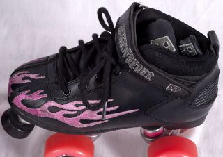 Rock Explosion Pink Flames Speed Freaks Derby Quad Roller Skates Sonic Wheels