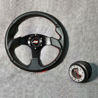 320mm Black PVC Leather Red Stitch 6 Bolt Steering Wheel JDM Horn Hub Adapter