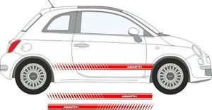 Fiat 500 Abarth Side Stripes Decal Car Vinyl Stickers Kit