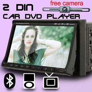 "Double 2 DIN 7"" in Dash Motorized Car DVD Player Head Unit iPod Bluetooth Camera"