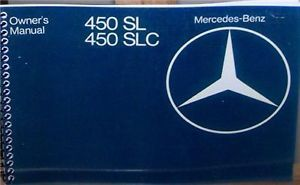 1977 Mercedes Benz 450SL 450SLC Owners Manual w 107 Parts Service