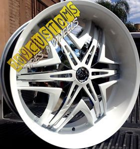 "24"" 24 inch Rims Wheels Tires Diablo Elite White Charger Camaro Challenger 300C"